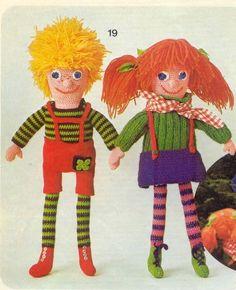 Gehaakte poppen met rood en geel haar | Knuffels-breien-en-haken.jouwweb.nl