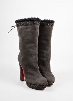 "Christian Louboutin Brown Suede Shearling Platform ""Step N Roll"" Boots"
