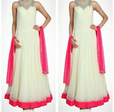 White and Pink Anarkali