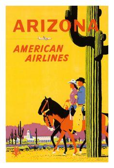 Arizona - American Airlines - Riders on Horseback - Saguaro Cactus, State Flower of Arizona Impression giclée par Fred Ludekens sur AllPosters.fr