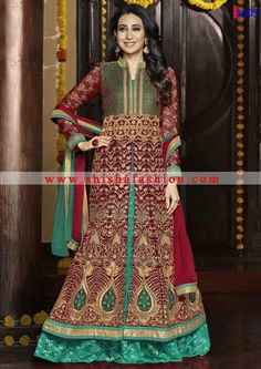 BEAUTIFUL MAROON & RAMA COLOR GEORGETTE FABRIC DESIGNER WEDDING WEAR LEHENGA SUIT