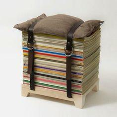 Recycled Magazine Stack Stool