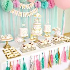 Great Image of Birthday Cake Table Decoration Ideas . Birthday Cake Table Decoration Ideas Pink Mint And Gold Carousel Cake Dessert Table Birthday Party Birthday Cake Decoration Ideas Table birthdaycakedecoration 611293349402277093 Birthday Party Table Decorations, Dessert Table Birthday, Birthday Party Tables, Unicorn Decorations Party, 14 Birthday Party Ideas, Party Decoration Ideas, Birthday Party Desserts, Table Party, Birthday Backdrop