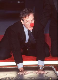 Robin Williams was his usual silly self during his hand and footprint ceremony on the Hollywood Walk of Fame in December 1998.