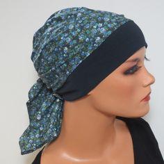 Kopftücher - KOPFTUCH-MÜTZE blau bunt Chemomütze praktisch - ein Designerstück…