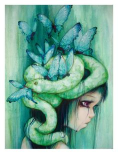 The Purple Tear Girl Giclee Print- Camilla D'Errico (Angie tattoo)