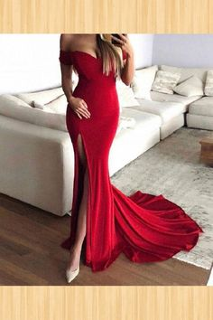 Sexy Mermaid Evening Dress, Fashionable Red Prom Dress,Long Prom Dress With Slit, Cheap Prom Dress,Mermaid Prom Dresses Evening Party Gowns, Chiffon Evening Dresses, Mermaid Evening Dresses, Formal Evening Dresses, Red Formal Dresses, Red Ball Dresses, Ball Gowns, Split Prom Dresses, Red Bridesmaid Dresses