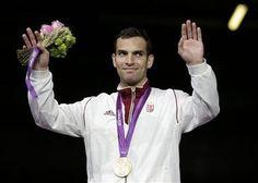 Áron Szilágyi Gold Medalist. Fencing: Anthem gaffe tarnishes Hungary gold.  photo: Reuters.  http://www.budpocketguide.com