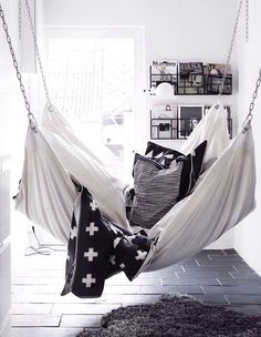 Love this. Put a hammock in your house to promote a relaxing vibe.