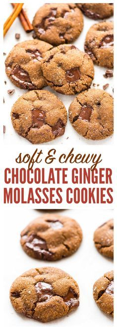 PERFECT soft and chewy Chocolate Ginger Molasses Cookies. Dark chocolate and fresh ginger make this the BEST old fashioned gingersnap cookie! Must make for Christmas cookie exchanges or anytime you need a special treat. Recipe at wellplated.com   @wellplated