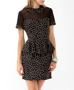 Mesh Trimmed Polka Dot Dress (Black/Cream). Forever 21. $22.80