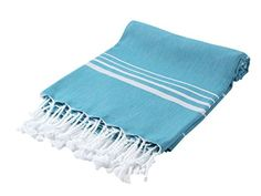 CACALA Paradise Series Turkish Bath Towels – Traditional Peshtemal Design for Bathrooms, Beach, Sauna – 100% Natural Cotton, Ultra-Soft, Fast-Drying, Absorbent – Warm, Rich Colors with Stripes Aqua
