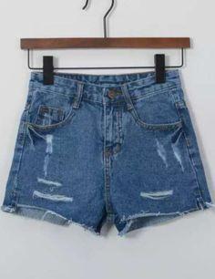 Blue High Waist Ripped Denim Shorts