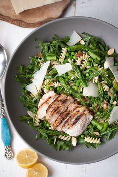 Dinner Recipe // Spring Pasta Salad w/ Asparagus, Peas, & Greens