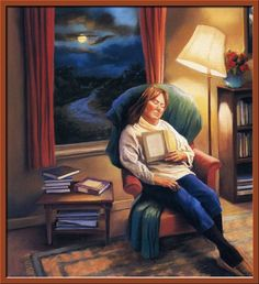 Book themed art of artist Deborah DeWit Reading Art, Woman Reading, I Love Reading, People Reading, Book People, I Love Books, Good Books, My Books, Illustrations