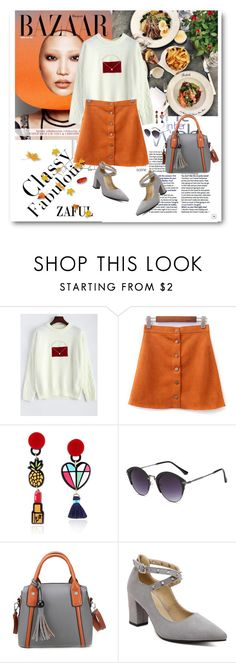 """""""Pearl Patched Knitwear"""" by merylicious91 ❤ liked on Polyvore featuring zaful"""