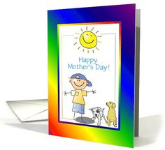 Mother's Day-Boy and Dogs-Sunshine-Custom card