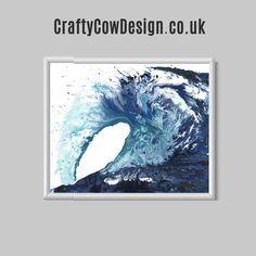 Poole Wave ocean print sea art ocean art wave by CraftyCowDesign
