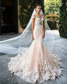 Glamorous Tulle Jewel Neckline See-through Bodice Mermaid Wedding ...