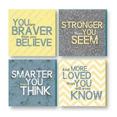 "Imagine Design ""Brave,"" ""Strong,"" ""Smart,"" ""Loved"" Plaques in Grey/Yellow (Set of 4) - buybuyBaby.com"