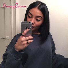 7A Short Bob Wigs For Black Women Full Lace Human Hair Wigs Straight Wavy Human Hair Brazilian Wigs Sunny Queen Hair Products