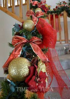 How To Decorate A Banister For Christmas ~ A step-by-step photo tutorial