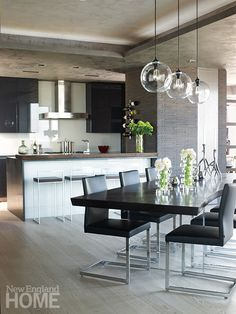 A contemporary penthouse in Boston Greatly influenced by contemporary European architecture, David, the owner of this apartment wanted a chic and modern interior in blue-gray color, reminiscent of the concrete he loves.