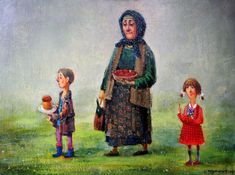 An Easter painting by Georgian artist Lado Tevdoradze Naive, Easter Paintings, Georgie, Modern Portraits, Online Painting, Whimsical Art, Art School, Christianity, Folk Art