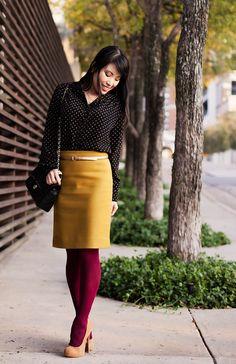 Polka dots, mustard, maroon