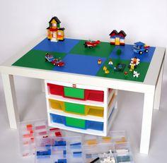 Inspiring Design of the Lego Storage Ideas with green table Lego Play Table, Lego Table Ikea, Lego Table With Storage, Lego Storage, Storage Ideas, Tupperware Storage, Storage Solutions, Trofast Ikea, Lego Hacks