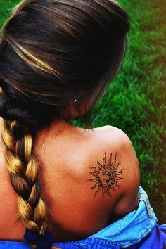 ॐ GOOD VIBES. Sun  moon tattoo.