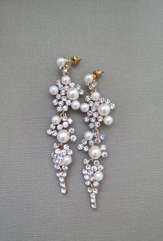 Bridal Chandelier Earrings Rhinestone by SukranKirtisJewelry