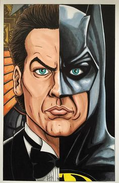 """I'm Batman."" Here is my tribute to Michael Keaton as both billionaire playboy Bruce Wayne and the Dark Knight of Gotham City, in the 1989 movie Batman. *STILL* the best movie Batman, in my opinion. Batman Painting, Batman Artwork, Batman Comic Art, Batman Wallpaper, Gotham Batman, Im Batman, Batman Robin, Damian Wayne, Batman Pictures"