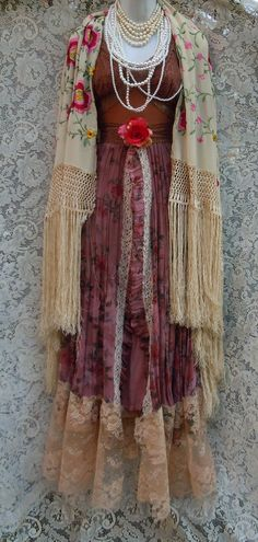 Floral boho dress dress handmade by vintage opulence on Etsy The top is a soft deep tea stained nylon and lace with lined cups, adjustable