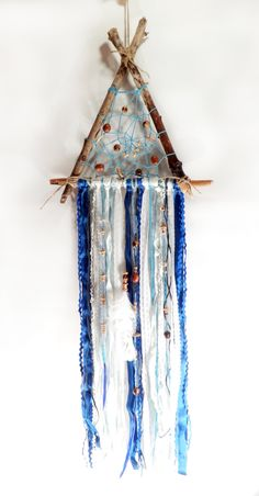 Triangle blue nautical boho driftwood beaded dream catcher with lace Bohemian rustic triangle shape nautical nursery textile dream catcher by DriedNature on Etsy