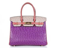 Hermès One-of-a-Kind Tricolor Ostrich 30cm Horseshoe Birkin Bag @}-,-;—