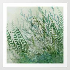 Ferns and Fog Art Print by Leslie Evans - $16.00