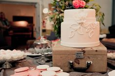 A chic yet rustic dessert spread with pastel hues from cake-ology