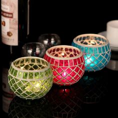 Mosaic Glass Candlestick Candle Holder Home Dinner Wedding Festival Decor Gift #new