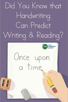Did You Know That Handwriting Can Predict Writing and Reading Skills? - Your Therapy Source School Ot, Back To School, Reading Skills, Fine Motor, Handwriting, Did You Know, Knowing You, Homeschool, Therapy