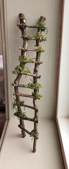 Rickety Ladder Fairy Ladder Handcrafted by Olive Fairy Accessories Fairy House Fairy Door Fairy Window Miniatures Fairy Tree Houses, Fairy Garden Houses, Fairy Village, Fairies For Fairy Garden, Fairy Doors On Trees, Diy Fairy Door, Fairy Garden Doors, Diy Door, Diy Fairy House