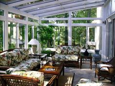 Vibrant seat cushions usher in tropical vibe into this sunroom [Design: Maryland Sunrooms] - Home Decor Ideas Decor, Home Upgrades, Cheap Home Decor, Home Decor, Sunroom Designs, Family Room Makeover, Fireplace Makeover, Rustic Dining Room, Farmhouse Side Table