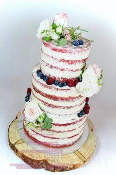 Semi naked wedding cake with furit and flowers by Lenka Budinova - Dorty Karez - http://cakesdecor.com/cakes/288821-semi-naked-wedding-cake-with-furit-and-flowers