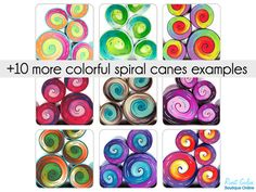 Colorful Spiral cane tutorial eBook with color recipes for the Spiral cane that is on the cover! (picture no. 1+2) with its blend layout, plus 10 more spiral canes color suggestions (only color - no recipes) and their blending layouts. In this tutorial you will learn how to build a colorful spiral cane with stripe ornaments. This tutorial includes 10 more examples from my own canes collection with color suggestions and detailed layout diagrams suitable for printing. This tutorial presents 36…