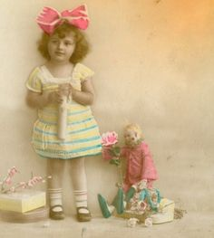 Antique French Real Photo Postcard Steiff Cloth Doll! from memoriesofthingspastantiques on Ruby Lane