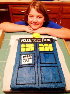 Dr Who Tardis cake made by daughter