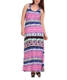 Loving this Pink & Navy Stripe Maxi Dress - Plus on #zulily! #zulilyfinds