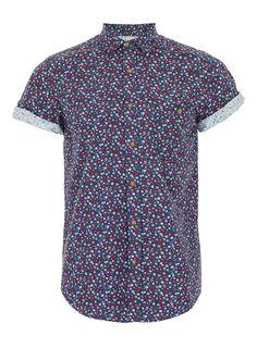 Topman Navy Floral Short Sleeve Shirt