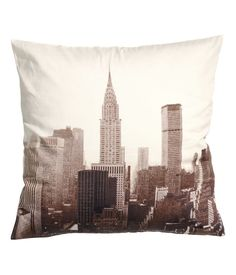 H&M - Cotton Cushion Cover - White/Dark grey