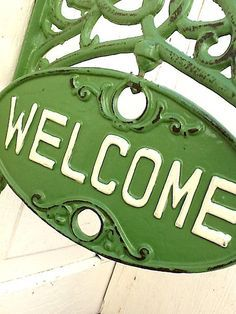 Welcome Sign French Farmhouse Red Go Away Chippy by CamillaCotton Go Green, Green Colors, Kelly Green, Green Grass, Little Green House, Farm House Colors, Calming Colors, White Cottage, Colour Board